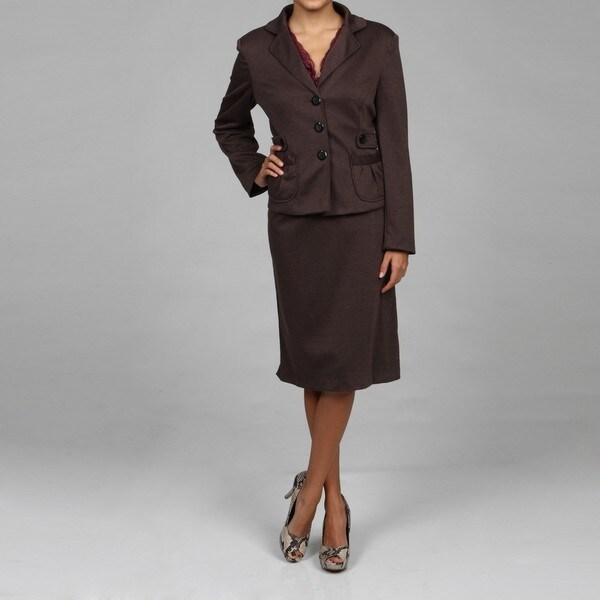 Danillo Women's Brown 3-button 2-piece Skirt Suit