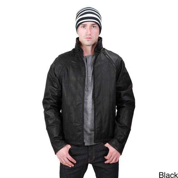 United Face Men's Leather Zip-off Sleeve Jacket