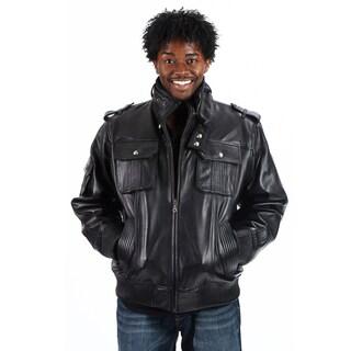 United Face Men's Lambskin Leather Military Bomber Jacket