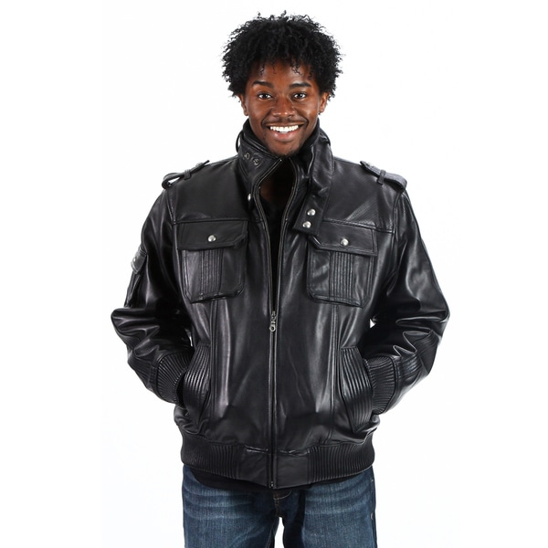 United Face Men's Lambskin Leather Military Bomber Jacket