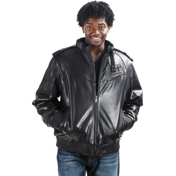United Face Men's Perforated Leather Bomber Jacket