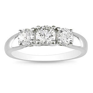 Miadora 14k White Gold 1ct TDW Diamond Three Stone Ring (G-H, I2-I3)