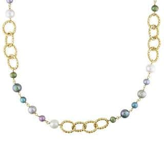 Miadora Yellow-Plated Brass FW Multi-Colored Pearl Twisted Link Necklace (7-10 mm)|https://ak1.ostkcdn.com/images/products/6209076/P13855795.jpg?impolicy=medium