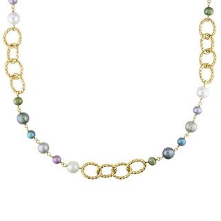Miadora Yellow-Plated Brass FW Multi-Colored Pearl Twisted Link Necklace (7-10 mm)