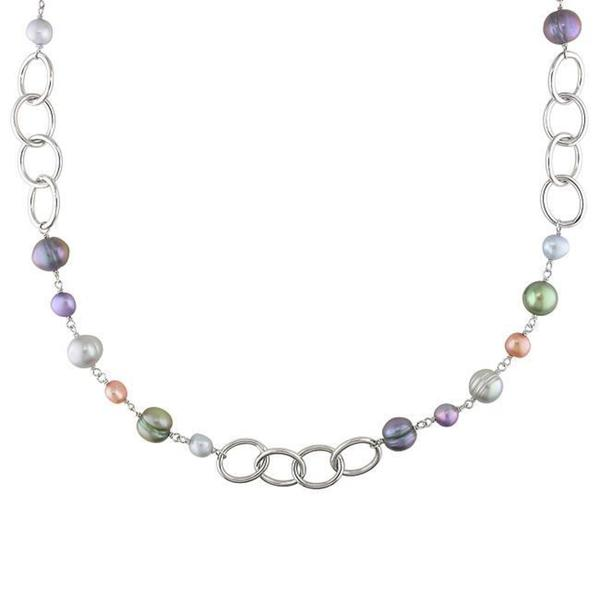 Miadora Silvertone FW Multi-Colored Pearl Round Links Chain Necklace