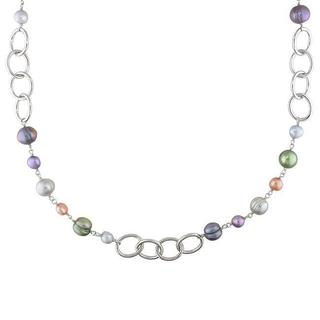 Miadora Silvertone FW Multi-Colored Pearl Round Links Chain Necklace