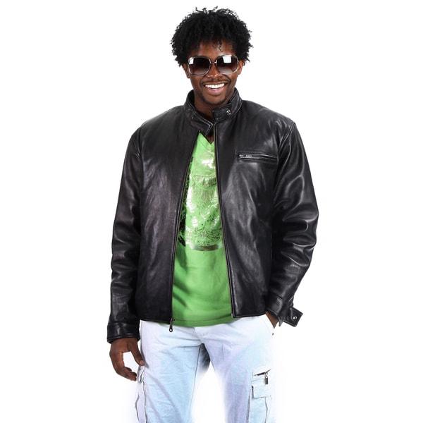 United Face Men's Moto Leather Biker Jacket