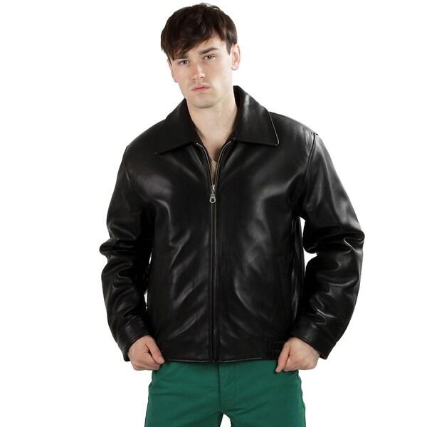 United Face Men's Classic Lambskin Leather Bomber Jacket