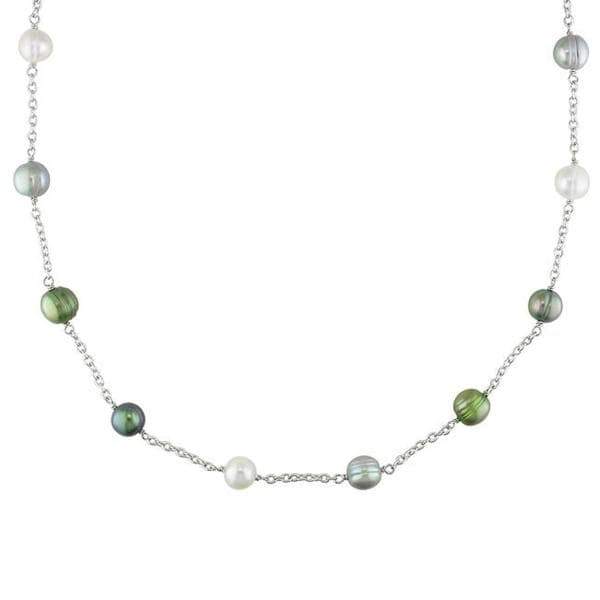 Silvertone Multi-colored Freshwater Pearl Necklace (8-9 mm)