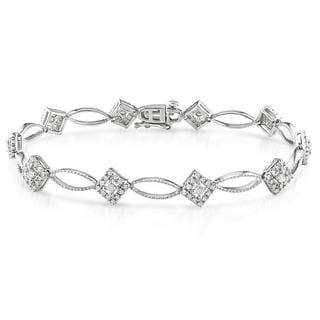 Miadora Sterling Silver 1ct TDW Round Diamond Bracelet