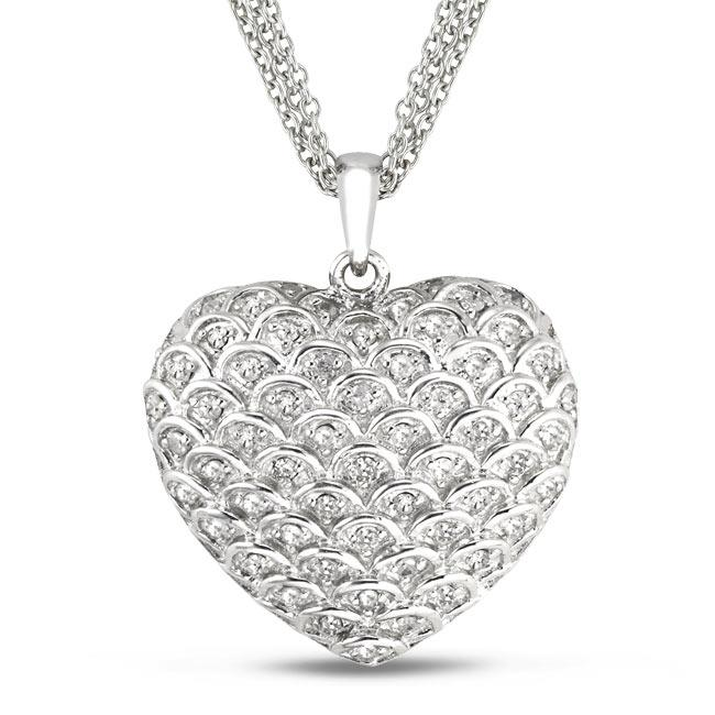 Miadora Sterling Silver 1/2ct TDW Diamond Heart Necklace (G-H, I2-I3)