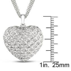 Miadora Sterling Silver 1/2ct TDW Diamond Heart Necklace (G-H, I2-I3) - Thumbnail 2