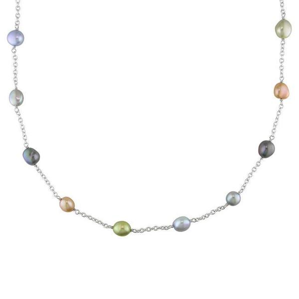 Miadora Silvertone Multi-colored Freshwater Baroque Pearl Necklace (8-9 mm)