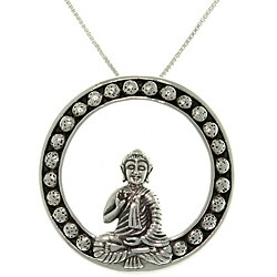 Carolina Glamour Collection Sterling Silver Sitting Buddha Necklace