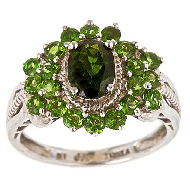 D'Yach Sterling Silver Chrome Diopside Cluster Ring