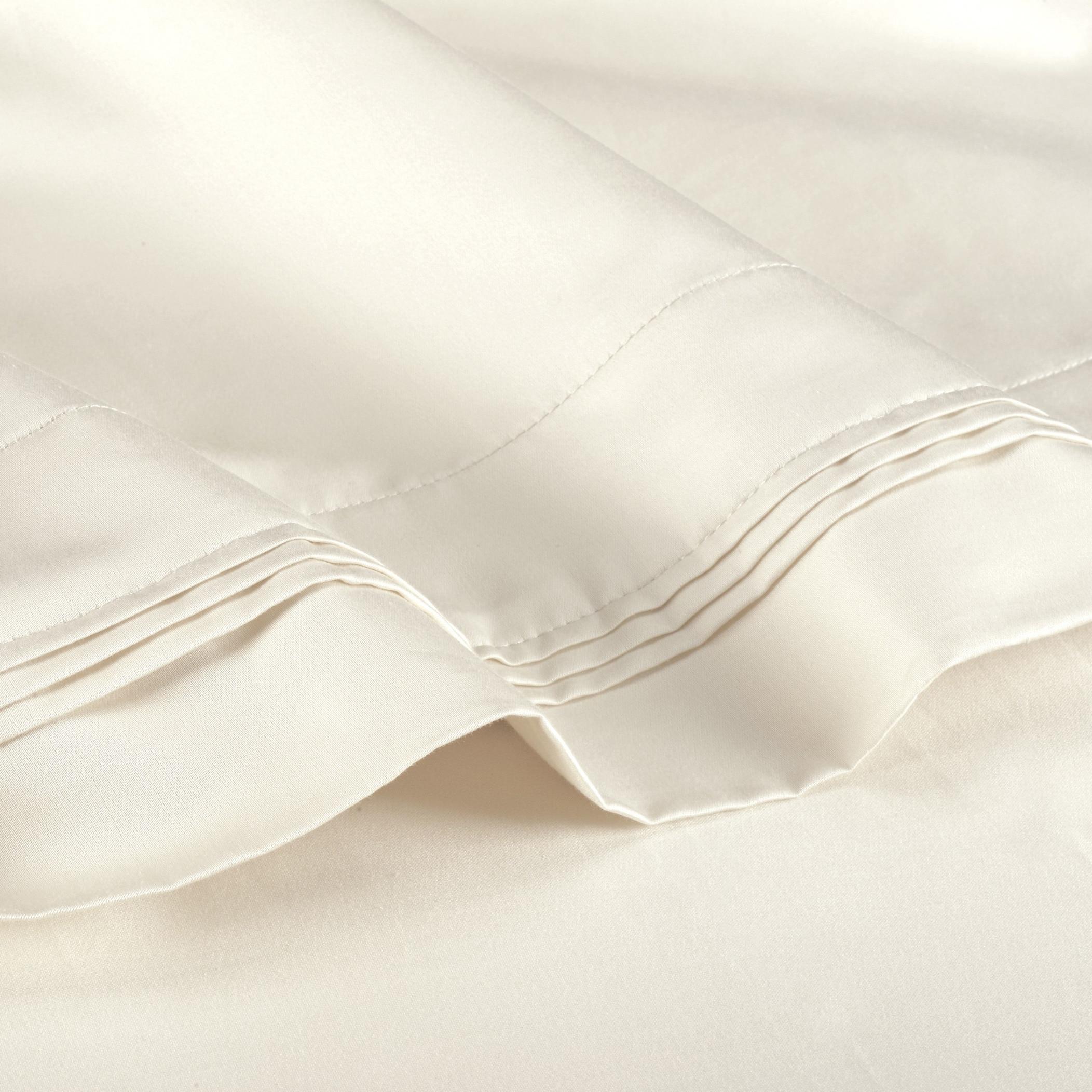 Super Deep Pocket 1000 TC 100/% Egyptian Cotton 4 PCs Bed Sheet Set Ivory Stripe