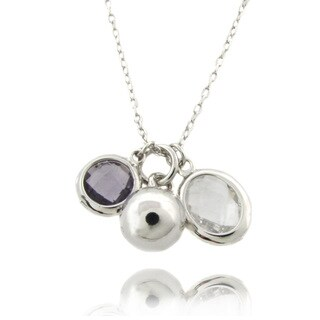 Dolce Giavonna Sterling Silver Simulated White Topaz and Amethyst Charm Necklace
