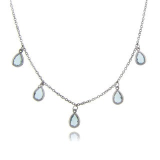 Dolce Giavonna Sterling Silver Simulated Pear-cut Blue Topaz Necklace