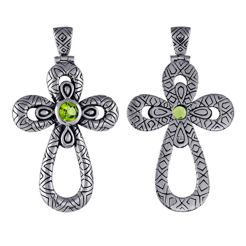 Handmade Sterling Silver Peridot Cross Pendant (Indonesia)