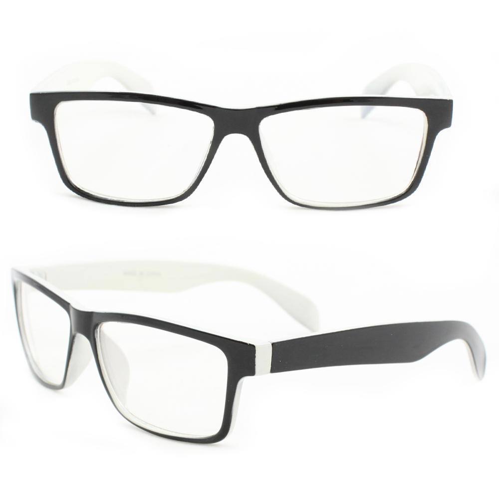 Unisex Black/White Plastic Clear-lens Rectangle Fashion Sunglasses