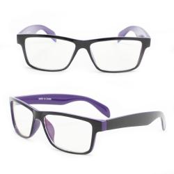 Unisex Black/Purple Rectangle Fashion Sunglasses