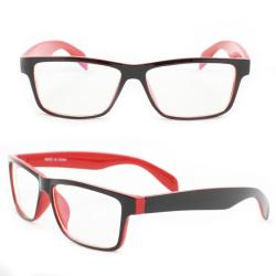 Unisex Black/Red Rectangle Fashion Sunglasses - Black