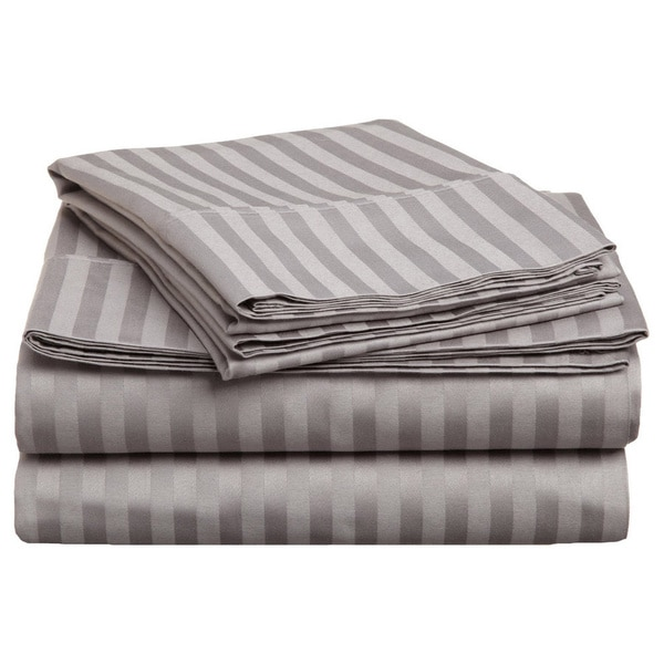 Superior Premium Combed Cotton Sateen 300 Thread Count Stripe Twin and Twin XL Deep Pocket Sheet Set