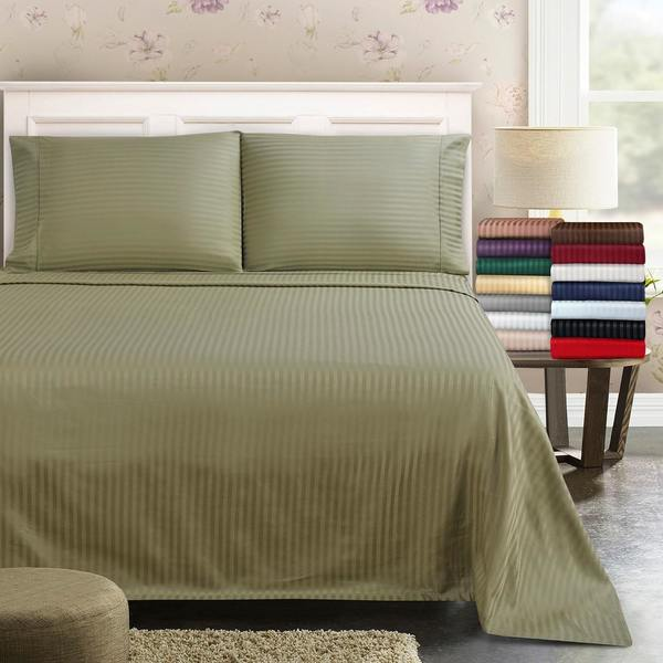 Superior 300 Thread Count Deep Pocket Stripe Cotton Sateen Sheet Set