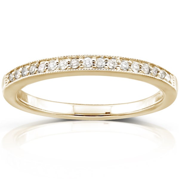 Annello by Kobelli 14k Yellow Gold 1/10ct TDW Diamond Wedding Band (H-I, I1-I2)