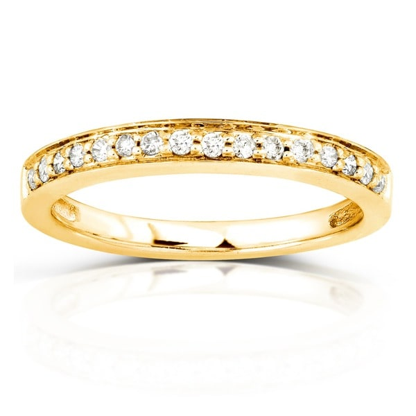 Annello by Kobelli 14k Yellow Gold 1/6ct TDW Diamond Wedding Band