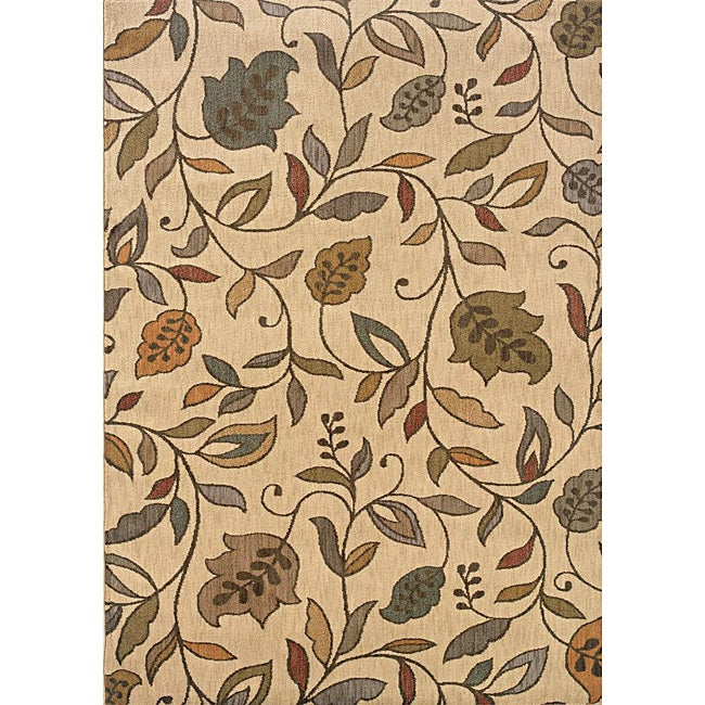 Messina Ivory/Brown Transitional Area Rug - 3'10 x 5'5
