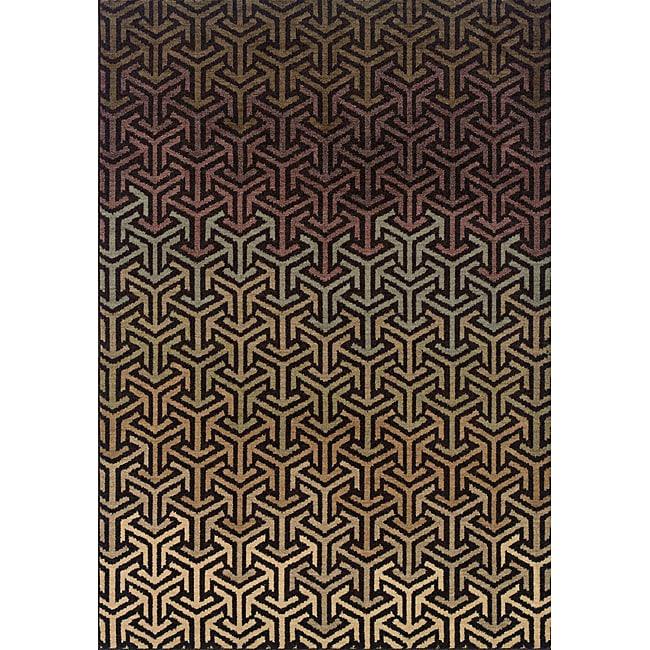 Messina Black/Tan Area Rug (5'3 x 7'6)