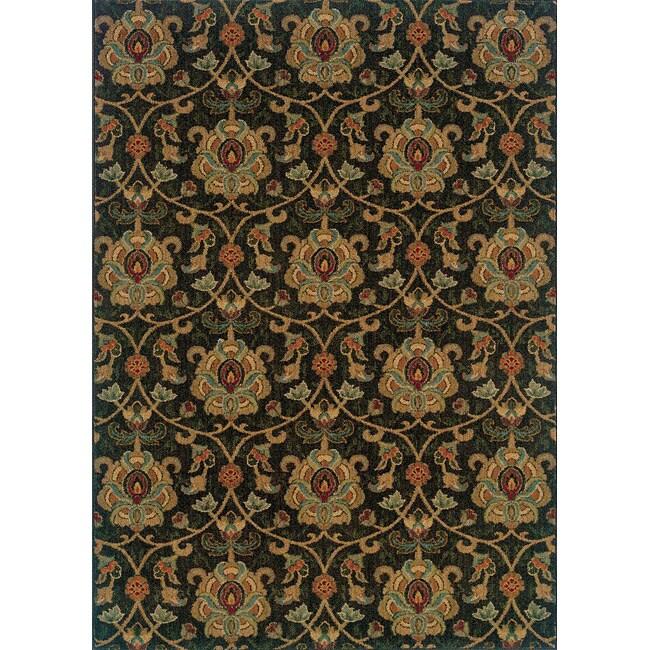 Berkley Green/ Beige Traditional Area Rug (6'7 x 9'6)