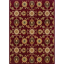 Berkley Red/ Beige Transitional Area Rug (5'3 x 7'6) - Thumbnail 0