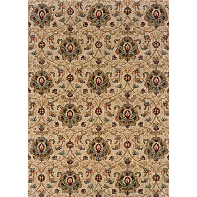 Berkley Beige/ Gold Traditional Area Rug (5'3 x 7'6) - Thumbnail 0