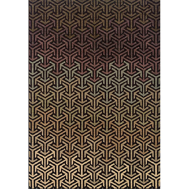 Shop Messina Black Tan Transitional Area Rug 7 8 X 10 10