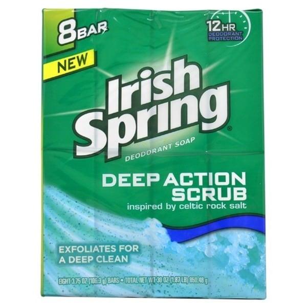 Irish Spring Deep Action Scrub 4-ounce Deodorant Soap (Pack of 8)