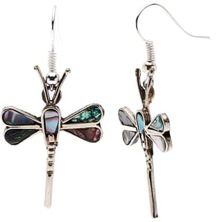Silver Mother of Pearl Dragonfly Earrings (Mexico)