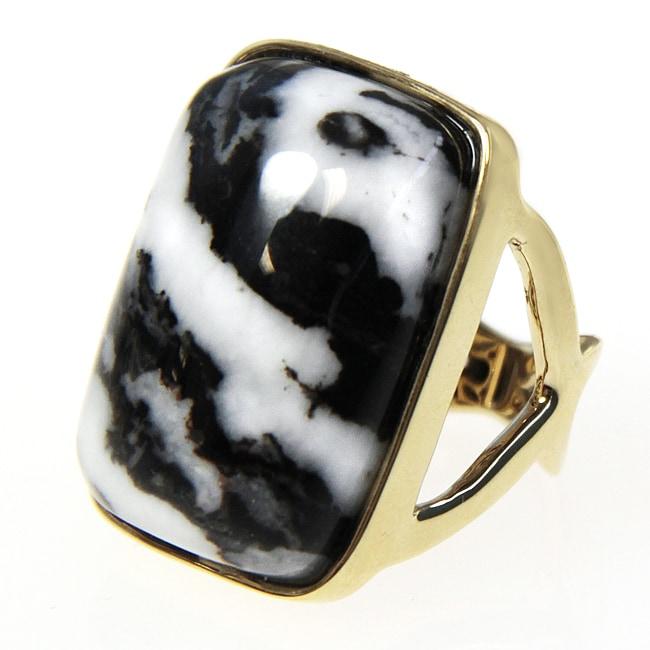 Adee Waiss 18k Gold Overlay Black and White Jasper Ring