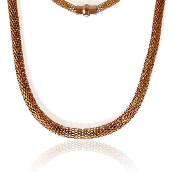 La Preciosa Rose Goldplated Stainless Steel Hollow Mesh Necklace