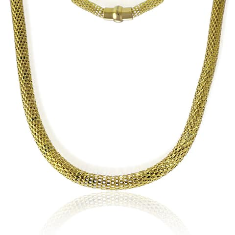 La Preciosa Goldplated Stainless Steel Hollow Mesh Necklace