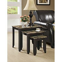 Clay Alder Home Loma Cappuccino Faux Marble 3-piece Nesting Table
