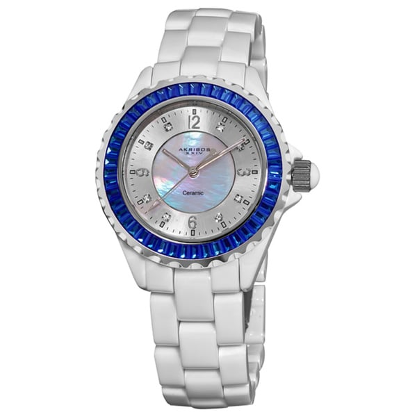Akribos XXIV Women's White Ceramic Baguette Bracelet Fashion Quartz Watch