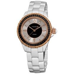 Akribos XXIV Women's Silver-and-Black-Dial Ceramic Baguette Bracelet Fashion Quartz Watch