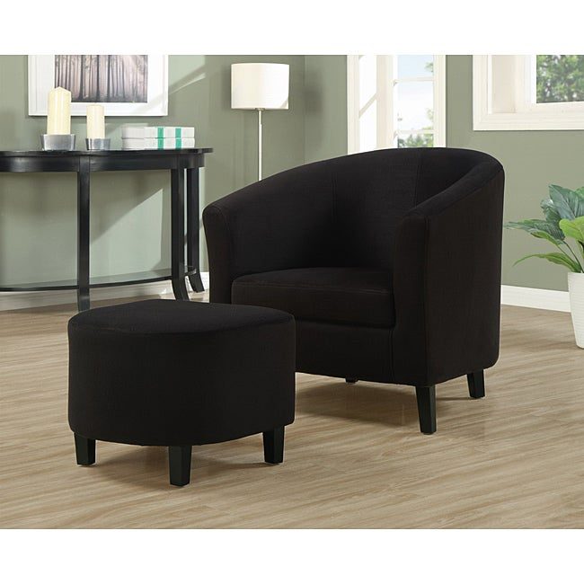 Black Padded Microfiber Accent Chair and Ottoman