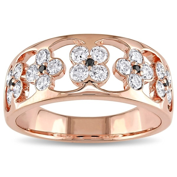 Miadora Signature Collection 18k Rose Gold 4/5ct TDW Black and White Floral Diamond Ring