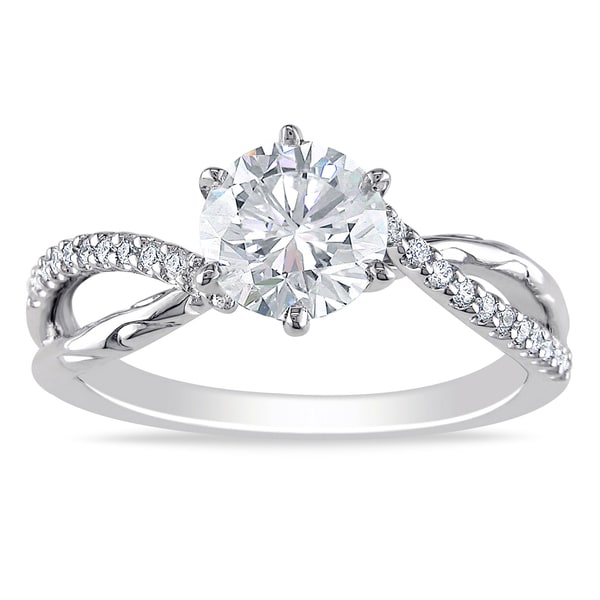 Miadora 18k White Gold 1 1/5ct TDW Diamond Engagement Ring