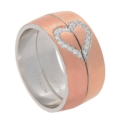 NEXTE Jewelry Two-tone Clear Cubic Zirconia Half Heart Ring Set