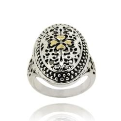 Mondevio 18k Gold Overlay Oval Filigree Ring