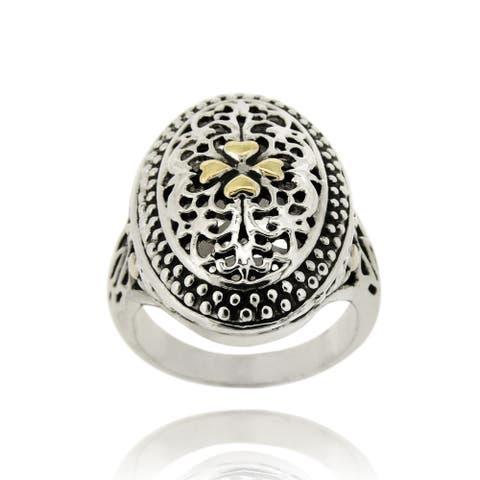 Mondevio 18k Gold Overlay Oval Filigree Ring